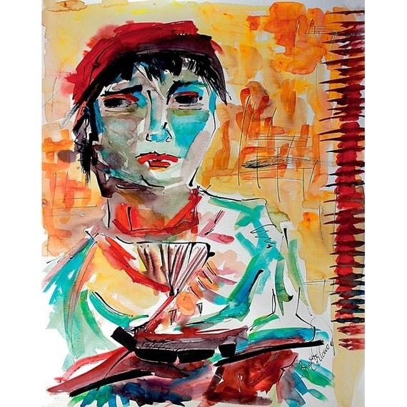 Italian Lady after Vincent Van Gogh Abstract Ink and Watercolor Interpretation