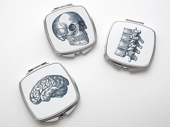 Anatomy Compact Mirror spine vertebrae skull brain medicine medical gift for her graduation science geek party favor neurology goth skeleton