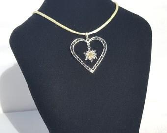 Edelweiss - silver heart filigree pendant