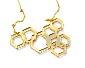 Gold Geometric Necklace Laser Cut Mirror Acrylic Perspex on Gold Chain Plated Overlapping Hexagon Necklace
