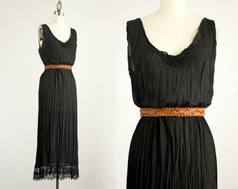 90s Vintage Sheer Black Lace Crinkle Maxi Sun Dress / Size Small / Medium