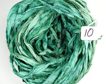 Sari silk Ribbon, Recycled Silk Sari Ribbon, teal green sari ribbon, Block print Sari Ribbon