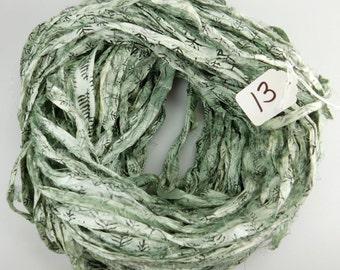 Sari silk Ribbon, Recycled Silk Sari Ribbon, Sage Green sari ribbon, Block print Sari Ribbon