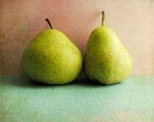 "Food photography - green pear fruit still life - kitchen wall art -  pink aqua art - retro kitchen decor - square print ""Two Pears"""