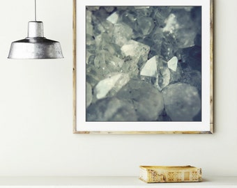 """Crystal photograph wall art mineral cluster slate blue gray nature photography geology gem gemstone quartz print  """"From the Earth"""""""
