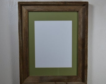 Picture frame 11x14 with green mat for 8x10,8 1/2x11,8x12,7x9 or 9x12 from reclaimed wood