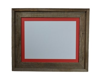 11x14 wood picture frame with red mat for 8x10 or 8x12 or 9x12