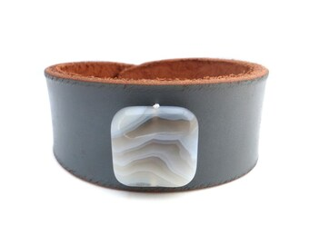Gray Leather Cuff with White Agate Stone Bead