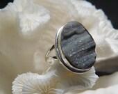 Beautiful Druzy Black Agate Ring Size 8.25