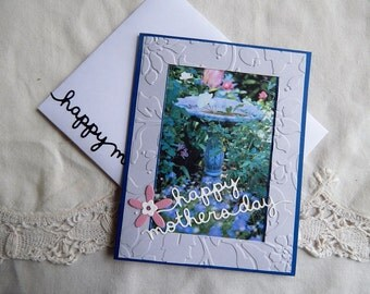 Mother's Day, greeting cards, cards, handmade, flowers, balsampondsdesign, complete inside, complete outside, blue, pink, green