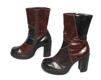 size 6 PLATFORM vegan leather 80s 90s GRUNGE PATCHWORK zip up ankle boots
