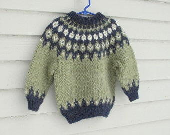 Childs Icelandic Sweater, size 4 to 6, Handknit Sage Green