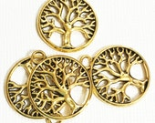 Bulk 100 pcs of Antiqued gold tree in a circle pendant 22x19mm, antique gold tree of life pendant