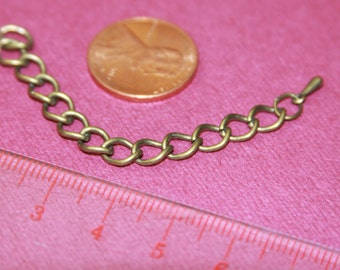 5 pcs of antique brass extension curb chain, Iron base extender chain with drops