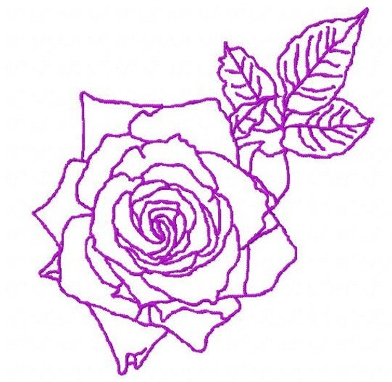 Items similar to rose outline machine embroidery design