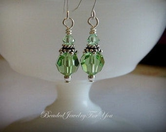 Peridot Dangle Earrings: Bridesmaid Wedding Earrings, Wedding Jewelry For Brides, Green Earrings, Crystal Earrings, Drop Earring, Birthston