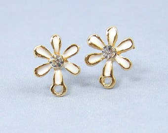 White Flower Earring Posts, Gold Flower Rhinestone Stud Earring Finding with Loop for DIY Bridal Special Occasion |G1-17|2
