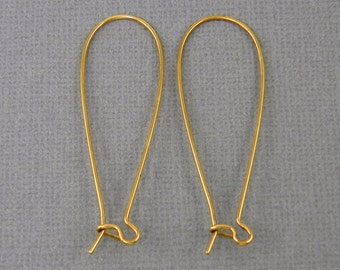 Long Antique Gold Kidney Ear Wires Earring Wires Findings Earwires |NU2-12|4 or 8 Pcs XN