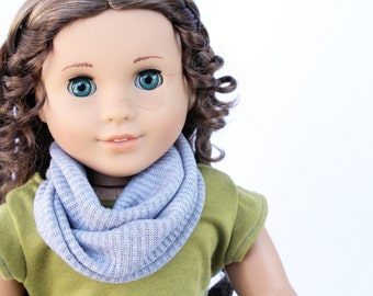 Fits American Girl Doll - Doll Accessories - Gray Sweater Knit Infinity Scarf