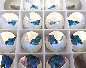 2 Clear Crystal AB Foiled Swarovski Rivoli Stone 1122 18mm