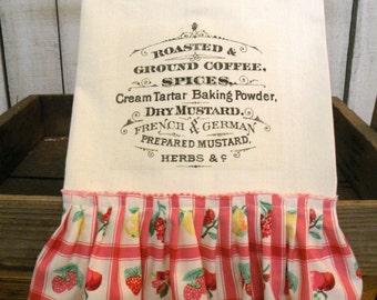 Roasted Coffee typography  Prairie Farmhouse ivory cotton Kitchen dish towel Tattered ruffles ECS RDT