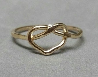Tying the Love Knot Ring,  Pinky Ring, 14k Gold Fill Ring,  US Size 3, Handmade Knot, Promise Ring, Handmade by Maggie McMane Designs