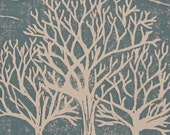 Winter Tree Print, Nature Art Print, Tree Silhouette Print, Trees Linocut, Trees Block Print, Nature Block Print, Blue and White Trees