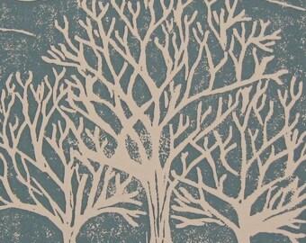 Winter Tree Print, Nature Art Print, Tree Silhouette Print, Trees Linocut, Trees Block Print, Nature Block Print, Blue and White Trees