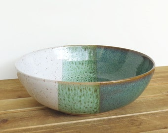Reserved for Mary - Large Serving Bowl in Sea Mist and White Glazes