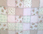 """Rag Quilt  Flowers  Pinks 42"""" X 50"""" Shades Of Pinks Cotton Quilt Blanket  Throw   Shabby Chic Toddler Girl Teen  Birthday   Gift"""