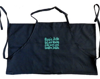 Macbeth Double Double, Toil and Trouble Witches Chant Apron (green, red, black)