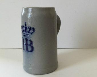 vintage HB beer stein Germany blue logo stoneware one liter