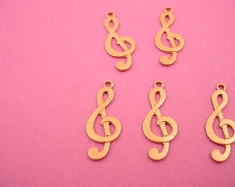6 brass G clef charms musical music band orchestra pendant 18mm