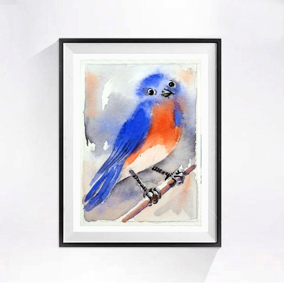 Blue Bird Painting Watercolor Print Song bird wall decor Eastern Bluebird Nature art Woodland creature wildlife painting art red white blue