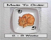Ginger Tabby Cat with Paw Prints On Square Ceramic Dish / Bowl Handmade To Order by GMS