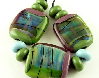 Olive Lime Green Blue Plum Purple Iridescent Handmade Lampwork Glass Focal Beads Set SRA