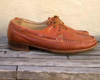 Florsheim mens shoes / cognac brown / boat shoe Topsider style / casual oxfords, mens 9.5 D
