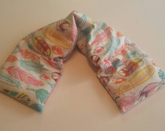 Heat therapy Rice Bag, Rice Heating Pad, Heat therapy, Shoulder heating pad, microwave heat pack -Neon feathers