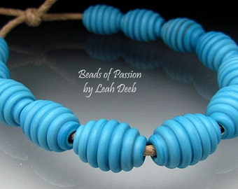 Handmade Glass Beads of Passion SRA Leah Deeb - 12 Earthy Turquoise Ribbed Olives