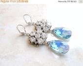 27% Off Sale Wedding Jewelry Swarovski Earrings Blue CZ  Sterling Silver Chandelier AE4