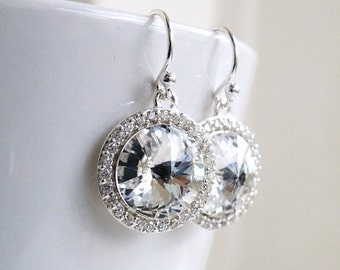 27% Off Sale Swarovski Crystal Earrings Rivoli Sterling Silver CZ Halo BE16H