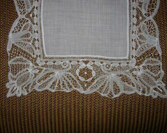Antique White Hand Made Lace Wedding Hanky - Hankie Handkerchief