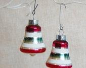 Vintage 1950s Christmas Bell Ornaments Glass USA Shiny Brite Striped Xmas