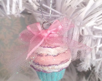 Cupcake ornament pink christmas vintage retro inspired fairytale holiday fake cake pastel christmas party decor