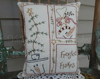 Decorative Winter/Christmas Pillow, Frosted Flakes Sampler, Hand Stitched Pillow, Snowman