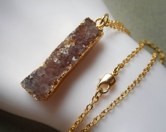 Druzy Necklace, druzy agate, gold plated gold edged stone pendant charm quartz raw stone drusy crystal plum lilac amethyst violet purple