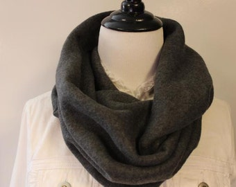 Women's Fleece Infinity Scarf Dark Gray