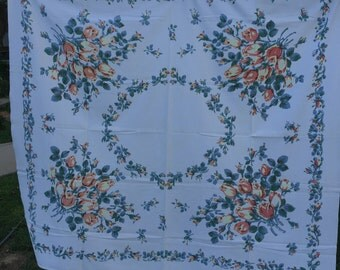 Vintage White with Blue and Peachy Pink Floral Print Tablecloth