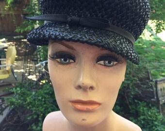 Vintage Ladies' Black Straw Hat with Black Nylon Ribbon & Bow