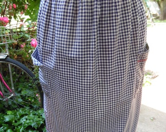 Vintage Navy Blue and White Gingham Check Half Apron with Red Cross Stitch Embroidery